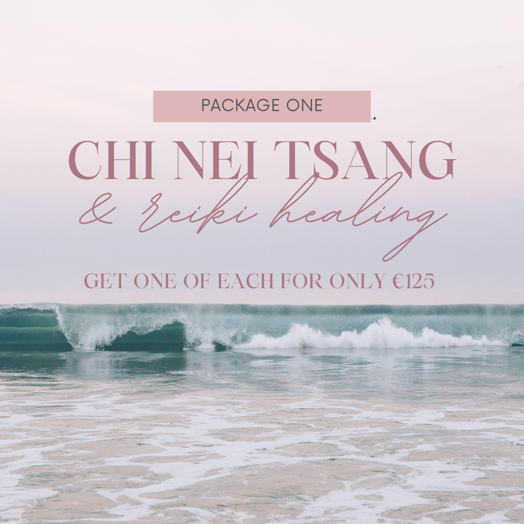 Chi Nei Tsang Reiki Healing  written on a background picture of the sea