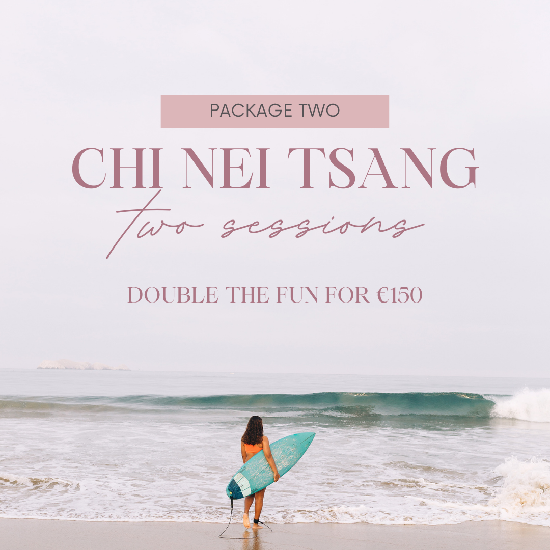 chei Nei Tsang two sessions written on a background picture of the sea with a female with a surfboard at the front