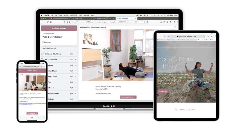 MacBook, Ipad and Iphone mock up showing Steffi's Yoga & More Membership